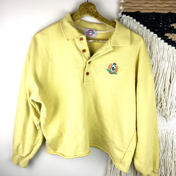 67694c40 Vintage Yellow Cropped Long Sleeve Polo Rugby. M_5a95a1c2331627f003b5bcba